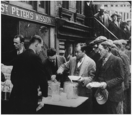 Lossy page1 548px depression  breadlines long line of people waiting to be fed  new york city  in the absence of substantial government...   nara   195524