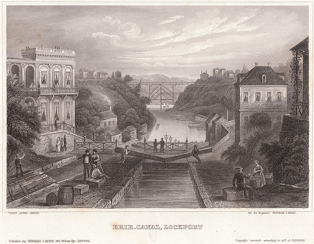 Erie canal lockport c1855